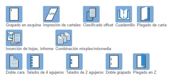 Impresora Bizhub Konica Minolta 554e acabados de impresión. Distribuidor oficial de Konica Minolta en Madrid, Ibérica de Duplicadoras
